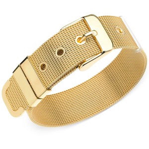GUESS Mesh Buckle Belt Bracelet Gold Tone