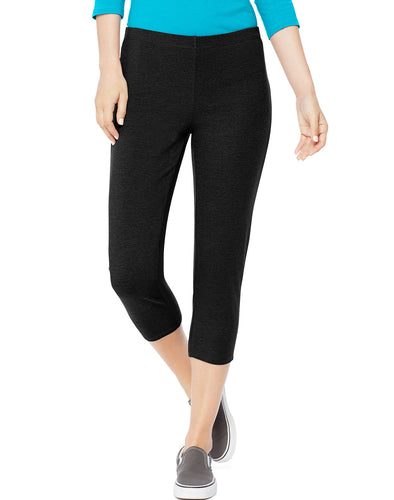 Hanes Women's Cotton Capri Black M