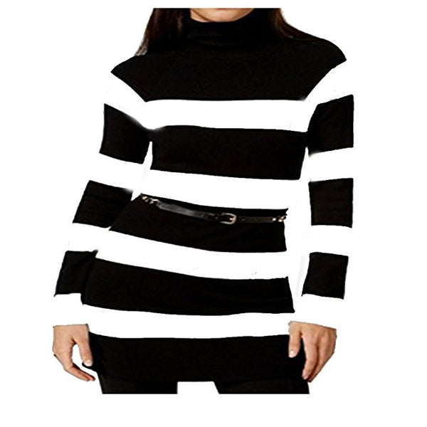 INC White Striped Chain Belted Womens Sweater Dress Size Large