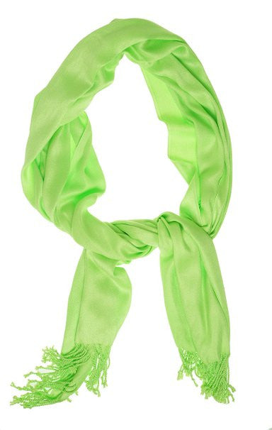 INC Women's Scarf Wrap Luxury Rectangle Fringe Chartreuse