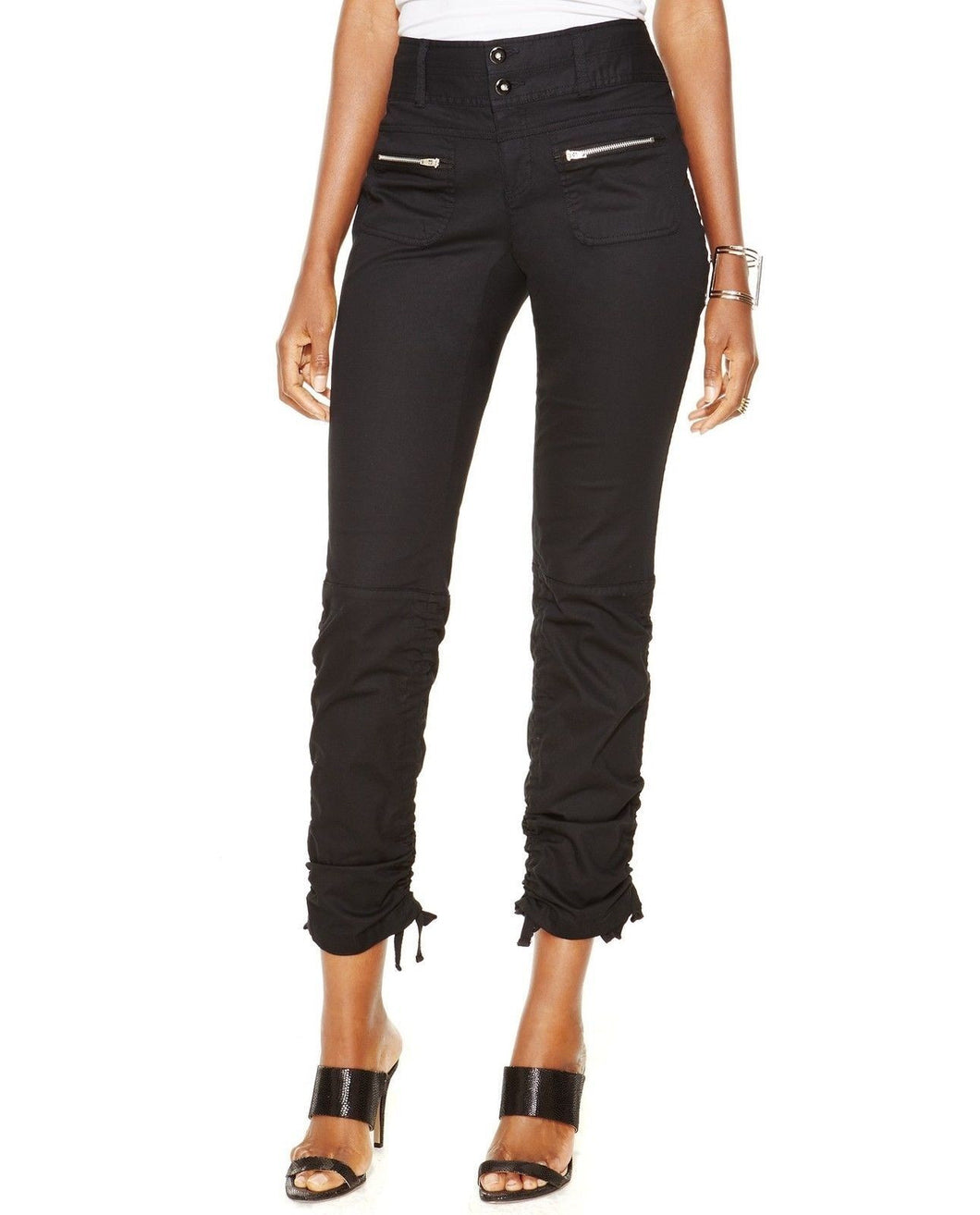 INC Deep Black Womens Cropped UtilityZip-Pocket Pants