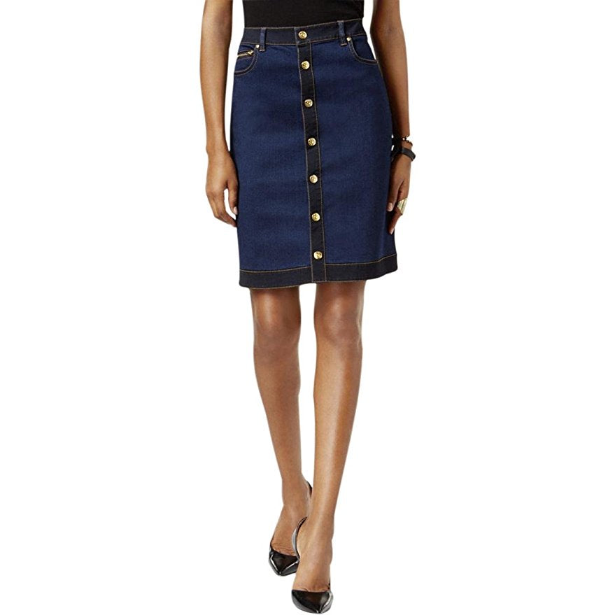 INC Womens Petites Button-Front Regular Fit Denim Skirt