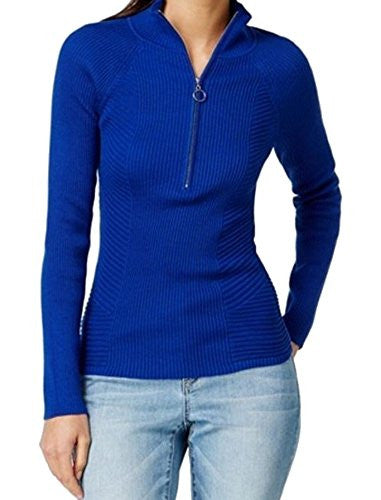 INC Womens Knit Mock Neck 1/2 Zip Sweater Goddess Blue Size XL