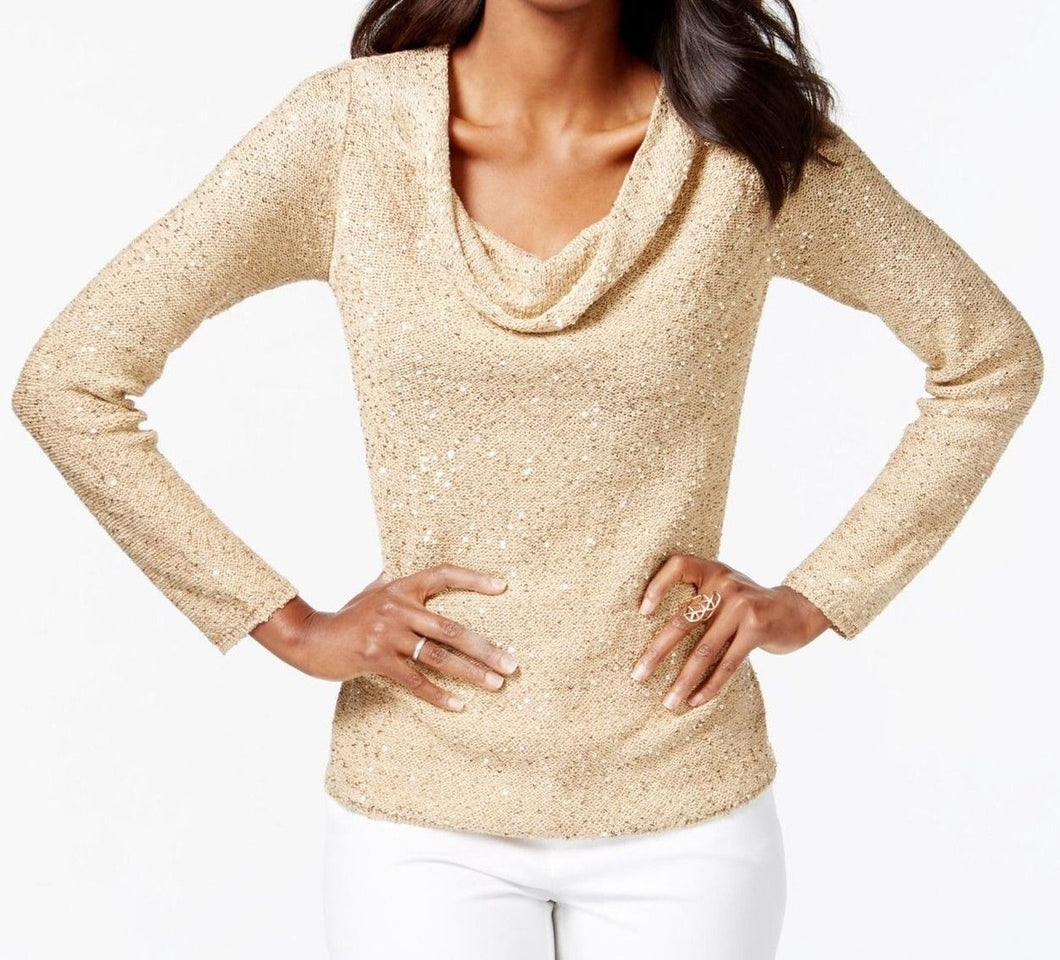 INC International Concepts Sequined Cowl-Neck Sweater