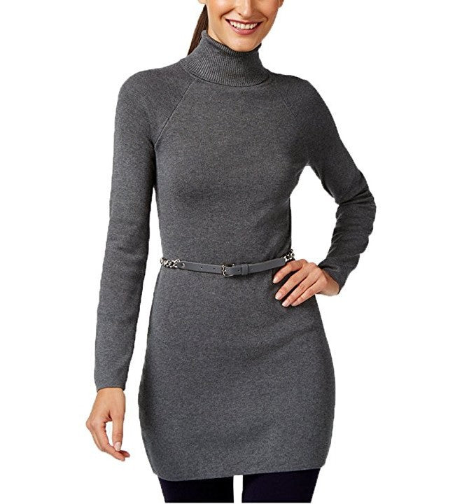 INC Turtleneck Long-Sleeve Chain-Belt Sweater Dress