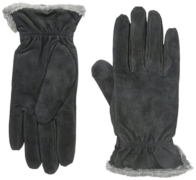 Isotoner Women's Suede Gloves with Gathered Wrist Charcoal