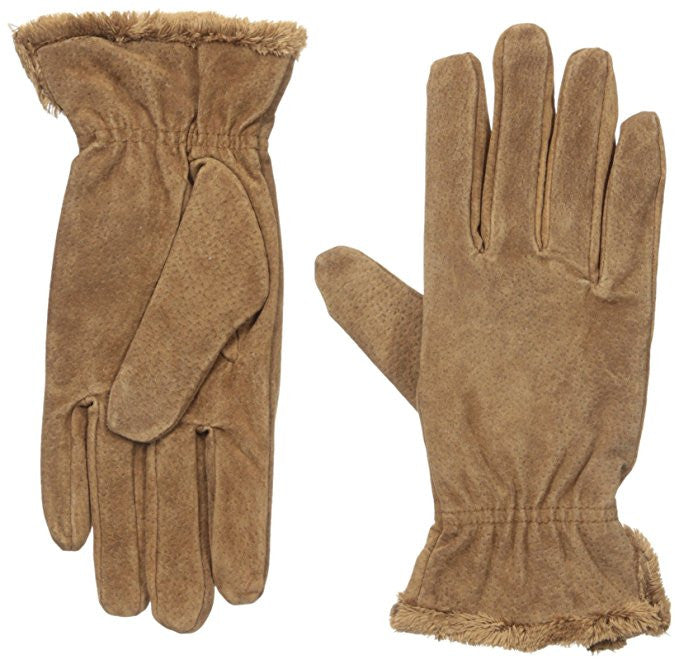 Isotoner Women's Suede Gloves with Gathered Wrist Luggage M
