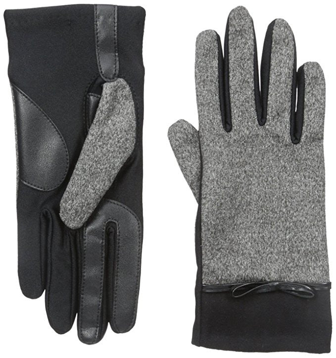 Isotoner Women's SmarTouch Melange Tweed Glove with Bow XL