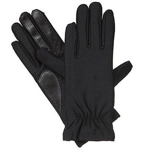 Isotoner Black Stretch Gathered Wrist Smartouch Lined Womens Gloves