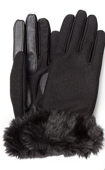 Isotoner Stretch Wool Long Faux Fur Cuffed SmarTouch Tech Gloves