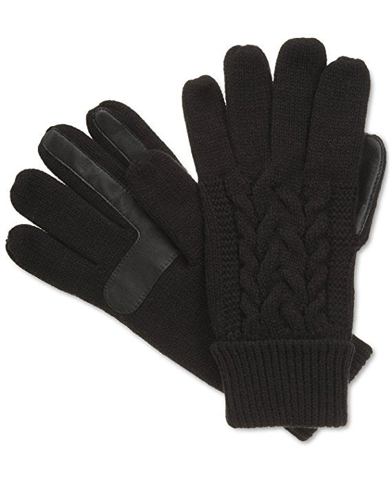 Isotoner Women's Cable Knit Thinsulate Smartouch Gloves Black One Size