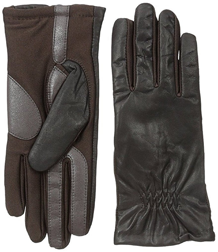 Isotoner Women's Smartouch Stretch Leather Glove with Partial Back Gather Brown XL