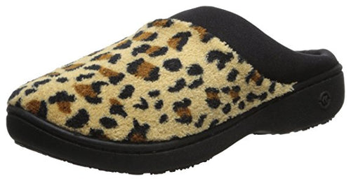 Isotoner Women's Classic Microterry Hoodback Slippers Cheetah