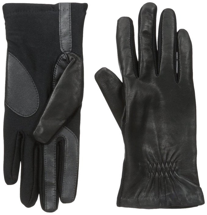 Isotoner Gathered Stretch Leather Tech Touch Gloves Black M/L