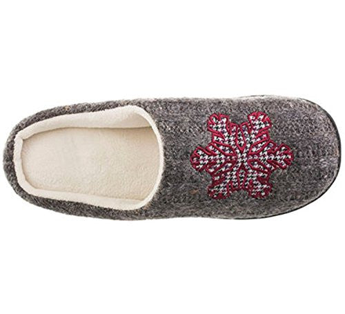Isotoner Signature Holiday Snow Flake Sweater Knit Critter Clog Slippers 7.5/8
