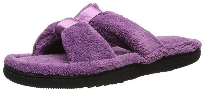 Isotoner Women's Microterry Satin X-Slide Slipper SM (6.5-7)