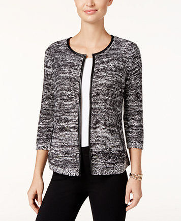 JM Collection Petite Faux-Leather-Trim Marled Jacket