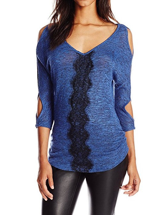 Jessica Simpson Womens Rochelle Lace Front Sweater Blue Small