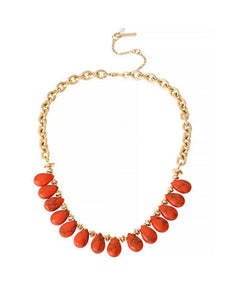 Kenneth Cole NY Gold Tone Semi Precious Coral Bead Frontal Necklace