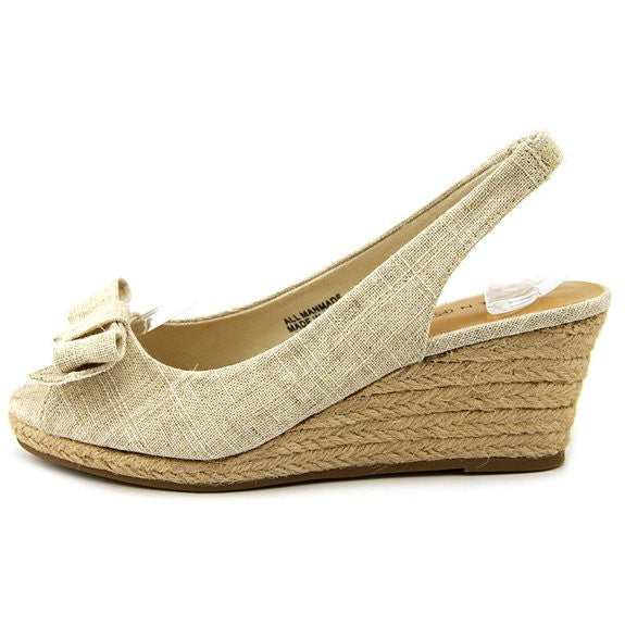 Karen Scott Alloraa Open Toe Canvas Wedge Heel Natural Size 5M
