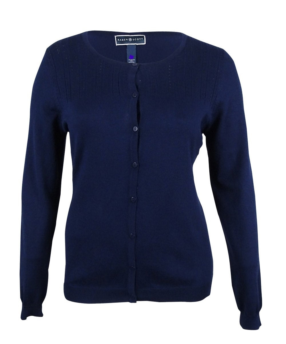 Karen Scott Petite Pointelle Cardigan Oxford Blue PM