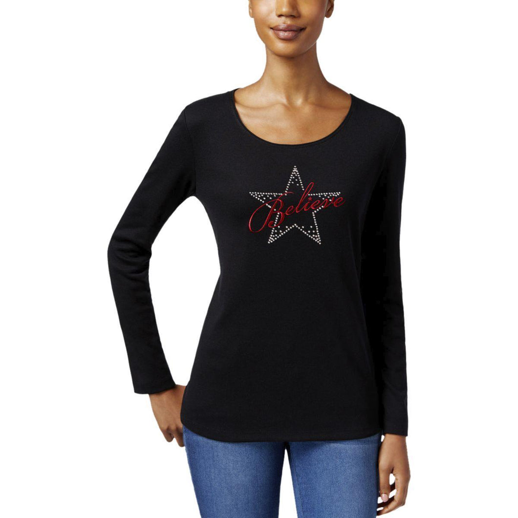 Karen Scott Petite Embellished Believe Graphic Top Deep Black PM