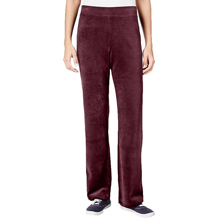 Karen Scott Petite Velour Pull-On Pants Merlot