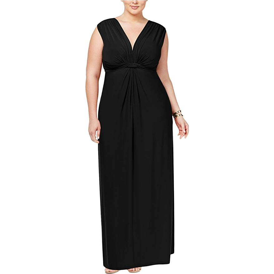Love Squared Trendy Plus Size Sleeveless Knotted Maxi Dress 2X