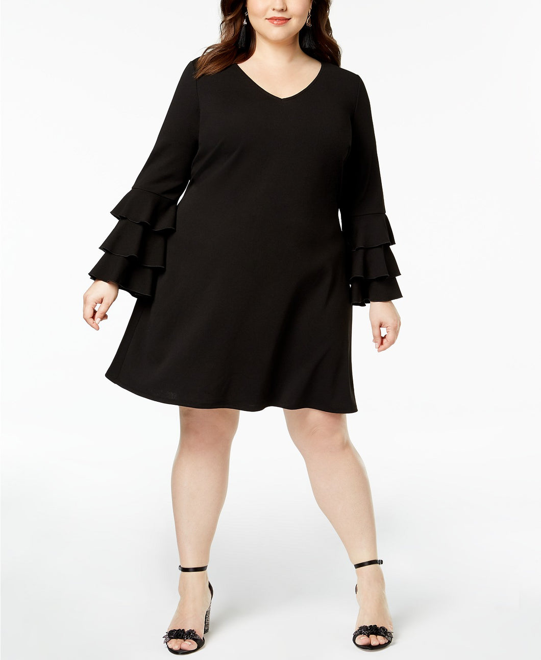 Love Squared Trendy Plus Size Tiered Bell Sleeve Dress 2X