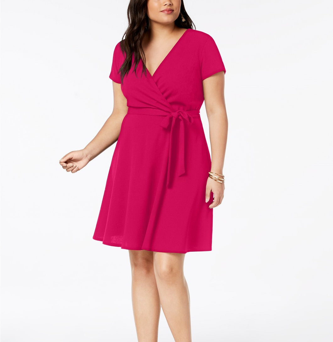 Love Squared Trendy Plus Size Wrap Techno Crepe Dress 1X