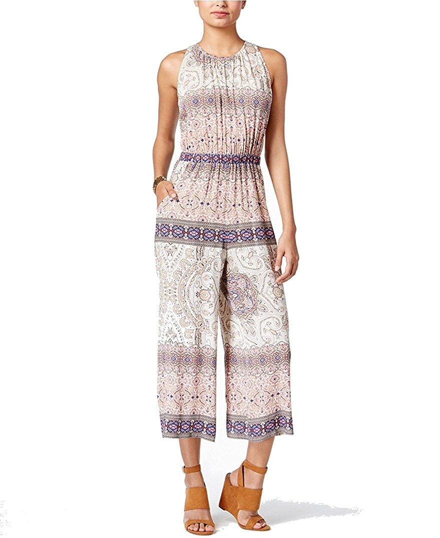 Emerald Sundae Juniors Printed Gaucho Jumpsuit Ivory Blush S