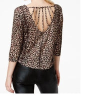Material Girl Juniors Leopard Print High-Lo Crop Top Small