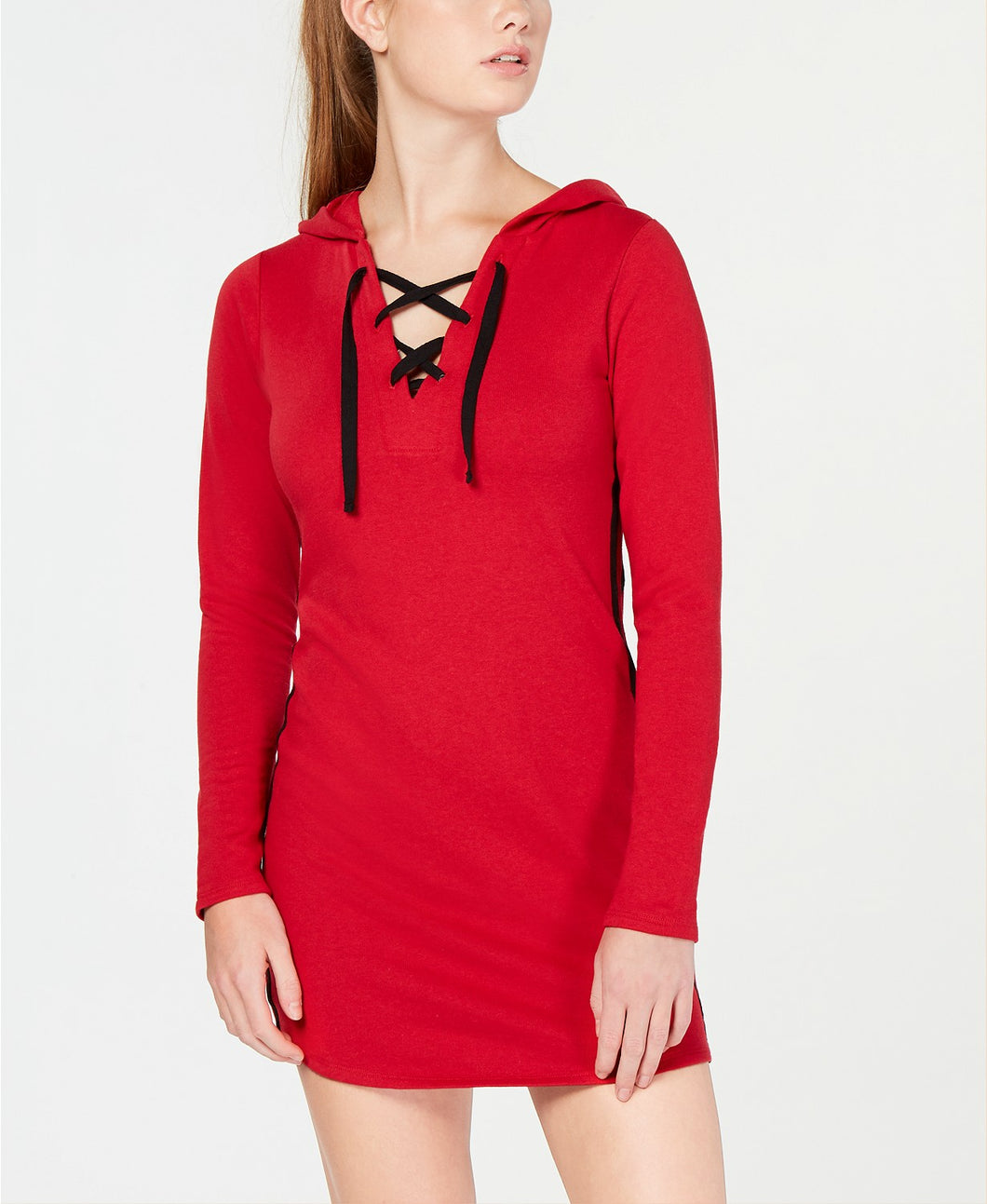 Material Girl Juniors' Varsity-Stripe Sweater Dress Jester Red M