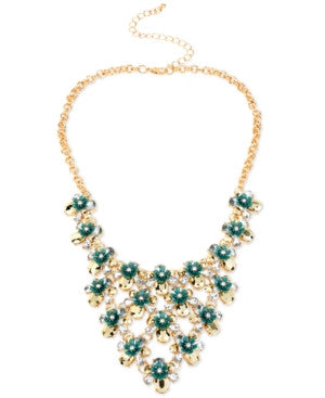 M. Haskell Gold-Tone Green and Crystal Flower Bib Necklace