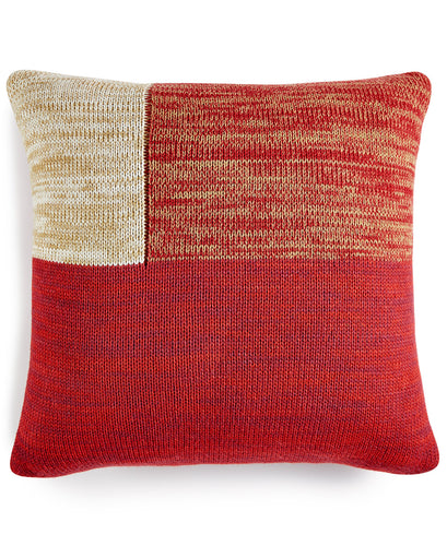 Martha Stewart Collection Chunky Knit Colorblocked  Red