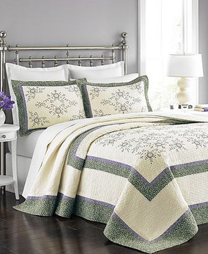 Martha Stewart Collection Valencia Eyelet Bedspread Ivory/Purple