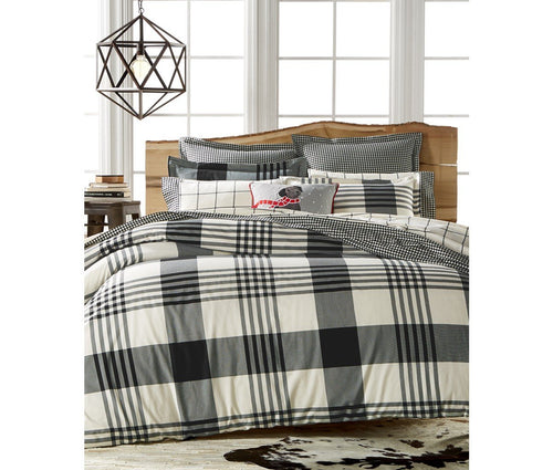 Martha Stewart Collection Montana Plaid Onyx Flannel Twin Duvet