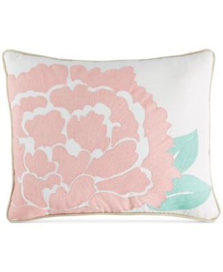 Martha Stewart Collection Village Peony Crewelwork Decorative Pillow