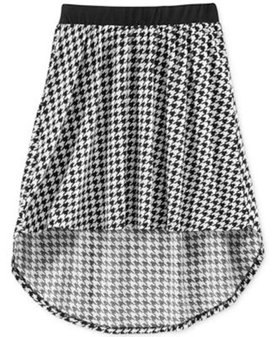 Miss Understood Girls Printed High-Low Skirt Houndstooth Large