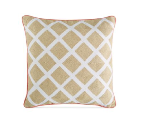 Martha Stewart Collection Village Peony Lattice Square Decorative Pillow
