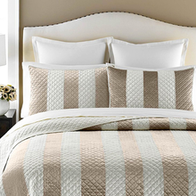 Martha Stewart Collection Siena Stripe King Quilt Taupe Cream