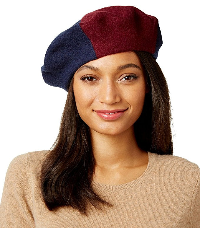 Inc International Concepts Women's Colorblock Beret, Navy, One Size
