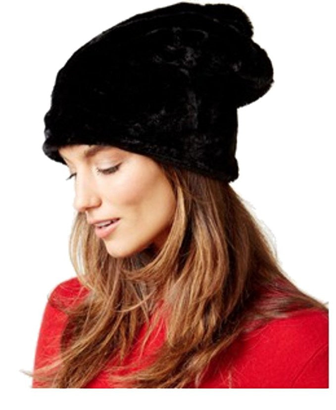 Nine West Women's Faux Fur Slouchy Hat Black One Size