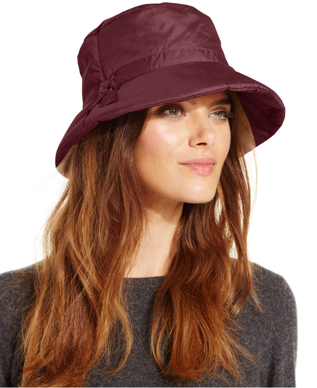 Nine West Women's Quilted Bucket Rain Hat, Dark Red, One Size