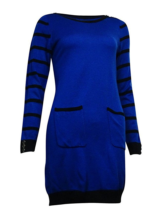 NY Collection Women's Striped Pocket Bateau Sweater Dress Size Large