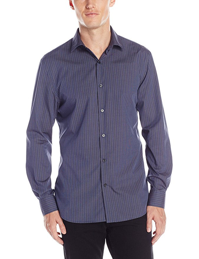 Perry Ellis Men's Long Sleeve Tonal Stripe Pattern Shirt Medium