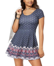Planet Gold Juniors' Printed Double-Scoop Skater Dress Blue Combo XS