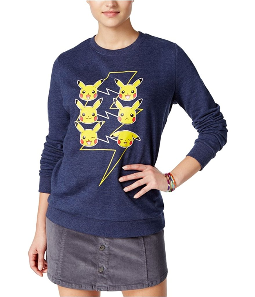 Mighty Fine Juniors Pikachu Faces Graphic Sweatshirt  L