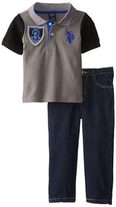 U.S. Polo Assn. Little Boys' Solid Polo with Contrast Color Sleeves and Denim Jean Set Dark Grey 7