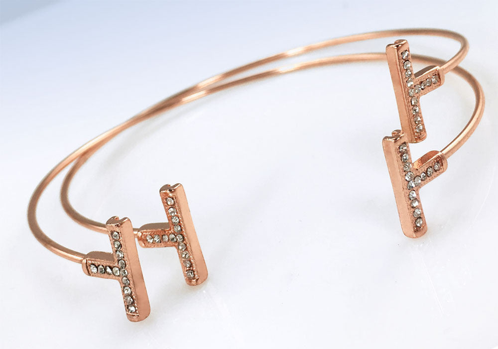 MCY Rose Gold-Tone Crystal Bar Cuff Bracelet Set